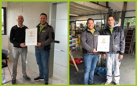 Florian Jehle mit Azubi und Brillux Ausbildungspartner - Auszeichnung